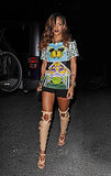 Rihanna stepped out in not one, but two statement-making pieces — a printed Mary Katrantzou tee and sexy Tom Ford sandal boots — during an April 2013 trip to NYC.