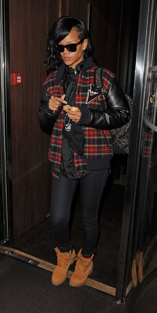Rihanna got a jump-start on the plaid fad donning a printed Joyrich varsity jacket in November 2012.