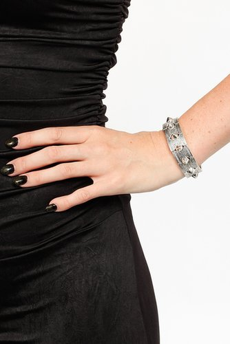 Stretchy Textured Spiked Mini Cuff Bracelet