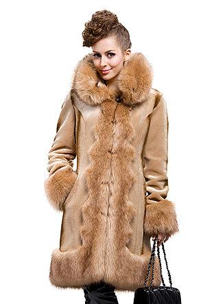 Fashion faux rex cashmere with faux fox fur collar long coat free shipping