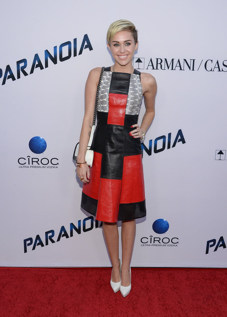 Miley Cyrus wore a patterned frock.