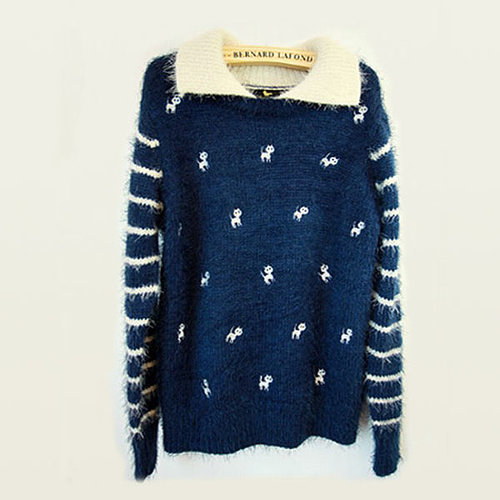 Mohair Kittens Joker Primer Shirt Sweater Blue Slim Women Sweatercoats