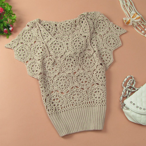 Women Cutout Handmade Crochet Batwing Sleeve loose Hooded Pullover Sweater