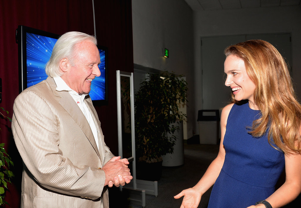 Natalie Portman joked around with Anthony Hopkins at the event.