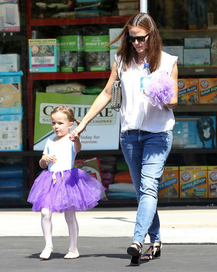 Jennifer Garner walked hand in hand with Seraphina, who wore a purple tutu to ballet class.
