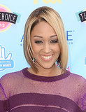 An angled, blond cut was a great look on Tia Mowry, who dusted a light purple shadow across her lids.