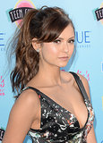 Nina Dobrev opted for a sexy, tousled ponytail at the Teen Choice Awards. Bold brows and great highlighting completed the look.