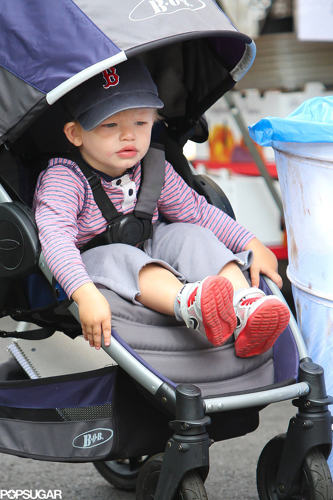 Samuel Affleck sported a Boston Red Sox hat at the farmers market.