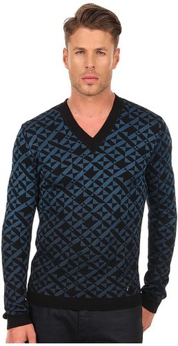 Versace Collection - Geometric V-Neck Sweater (Teal) - Apparel