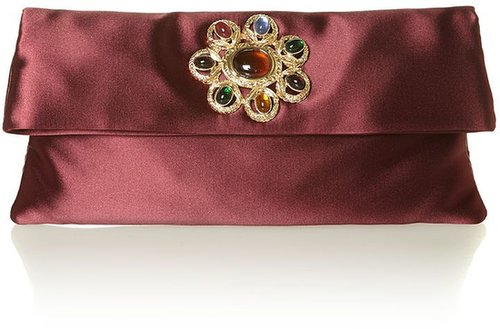 Love Moschino Satin jewel clutch bag