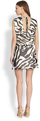 Diane von Furstenberg Janey Zebra-Print Silk Dress