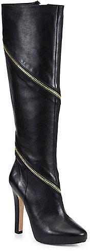 Diane von Furstenberg Cambria Zipper-Trimmed Leather Boots