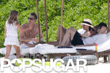 Courteney Cox relaxed on a chaise with Brian Van Holt and her daughter, Coco.