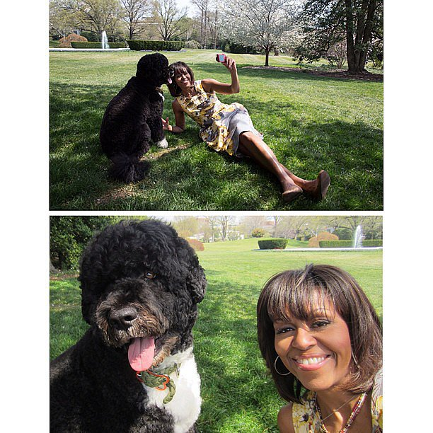 Michelle Obama shared an adorable selfie with Bo on her Instagram on Saturday.  Source: Instagram user Michelle Obama