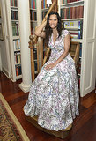 While celebrating her Hamptons Magazine cover, Padma Lakshmi took a seat in her printed gown.