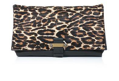 Lanvin Leopard ponyhair fold-over clutch
