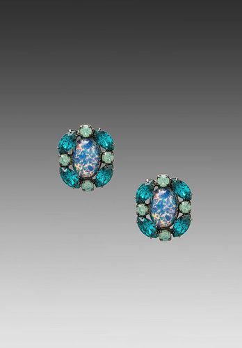 DANNIJO Tobi Earrings in Emerald/Iridescent Glass Purple