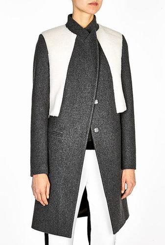 Neil Barrett Shearling Panel Wool Coat