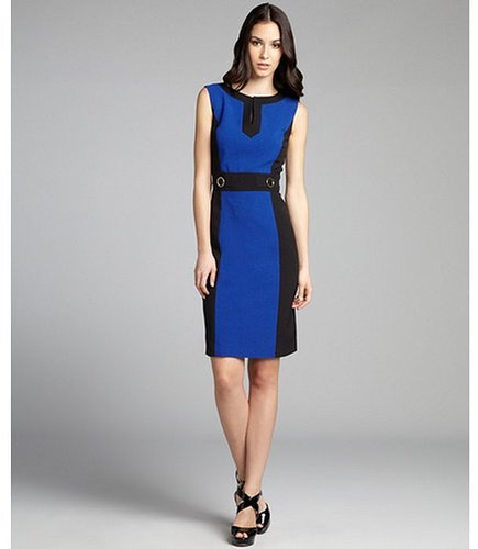 Tahari ASL black and royal textured colorblock sleeveless dress
