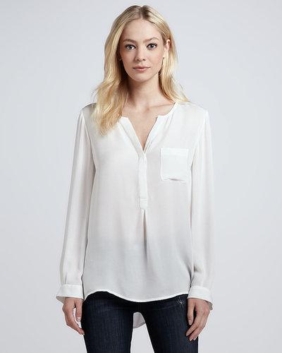 Joie Venicia Pocket-Front Silk Blouse
