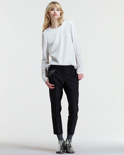 Brunello Cucinelli Slouchy Cropped Pinstripe Pants