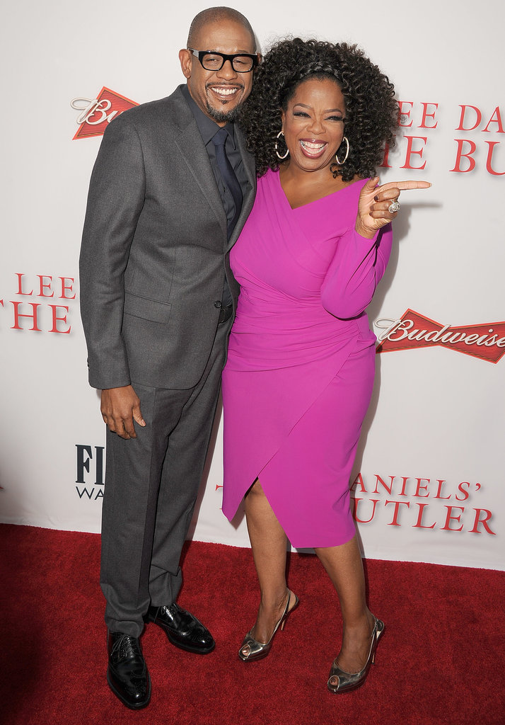 Oprah posed on the red carpet with Forest Whitaker.