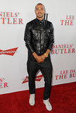 Jesse Williams wore a leather jacket on the red carpet.