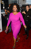 Oprah wore a hot-pink frock.