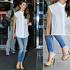 Keri Russell in a White Shirt and Jeans