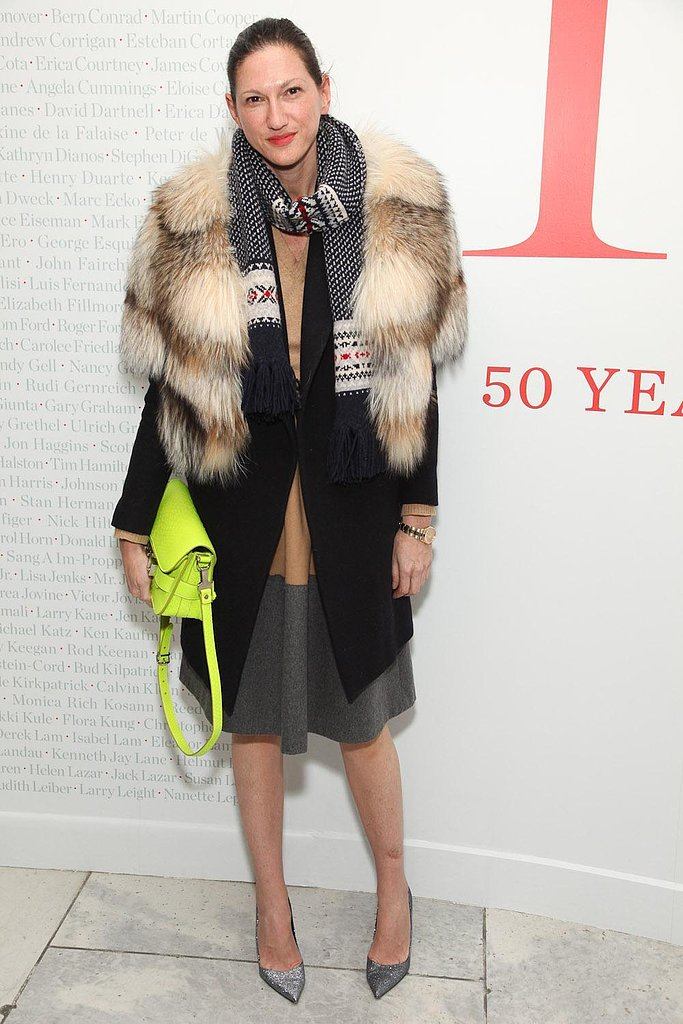 Fur and heels juxtaposed against a neon schoolboy satchel and knit scarf adds up to the s
