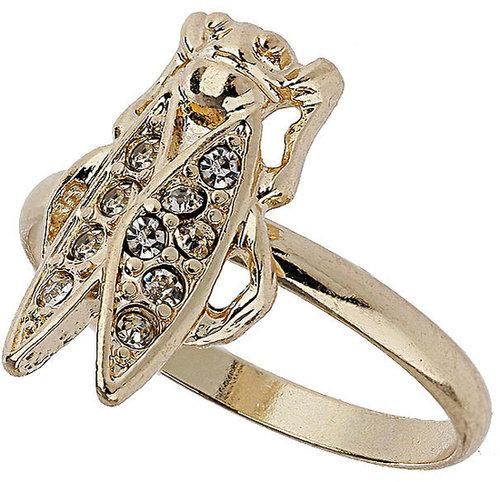 Bug and Rhinestone Ring