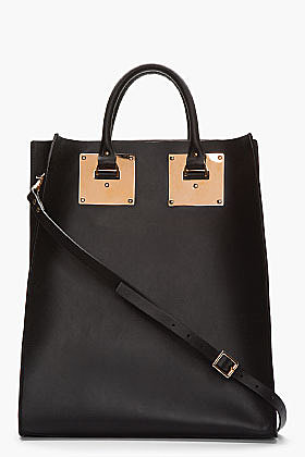 SOPHIE HULME Black Leather & Rose Gold Buckled Tote