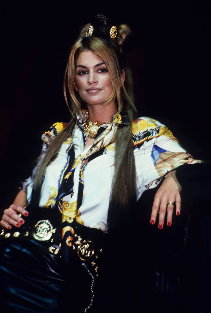 Cindy Crawford presided over Versace's Rock N' Rule amfAR benefit in 1992.