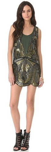 Haute hippie Swirled Embellished Tank Dress