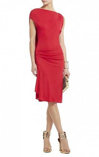 BCBG ADELINE ASYMMETRICAL DRAPED SHORT DRESS RED