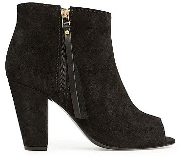 Touch - Peep-Toe Suede Ankle Boots