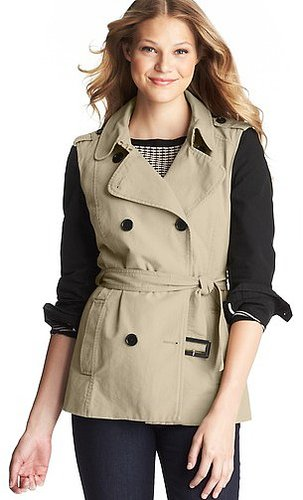 Contrast Sleeve Cotton Canvas Trench