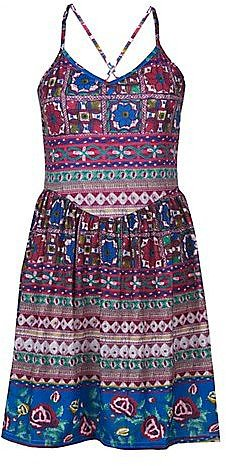 Misumi Pink Floral Aztec Strappy Dress