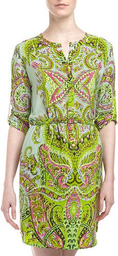 Yoana Baraschi Paisley-Print Belted Shirtdress, Minty Lime