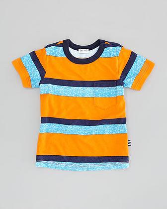 Splendid Littles Asher Striped Jersey Tee, Orange, Sizes 2T-4T