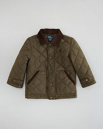 Ralph Lauren Childrenswear New Hagan Quilted Jacket, Dark Olive, Sizes 2-3