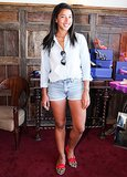 Hannah Bronfman arrived for Sarah Flint's trunk show at LA's SoHo House.