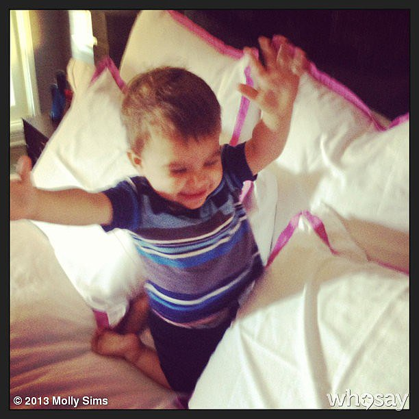 Brooks Stuber looked ready for a full-on pillow fight during his mom's work event with Sleep Number beds. Source: Instagram user mollybsims