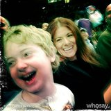 Debra Messing and her son, Roman, had a good laugh at the Harlem Globetrotters game.  Source: Instagram usre therealdebramessing