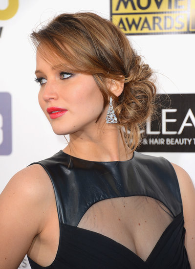 The basic chignon is not original enough for Jennifer Lawrence. Instead, she wore this more modern tousled side bun at the 2013 Critics' Choice Awards.