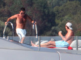 Shirtless Simon Cowell hung out on a yacht in Sardinia, Italy.