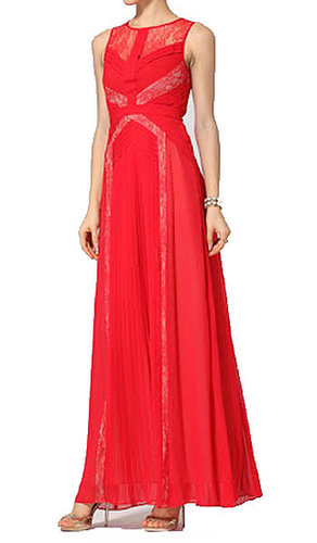 BCBG AVI PLEATED EVENING GOWN RED