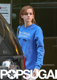 Emma Watson showed off her love of reading in a blue Great Gastby sweatshirt.