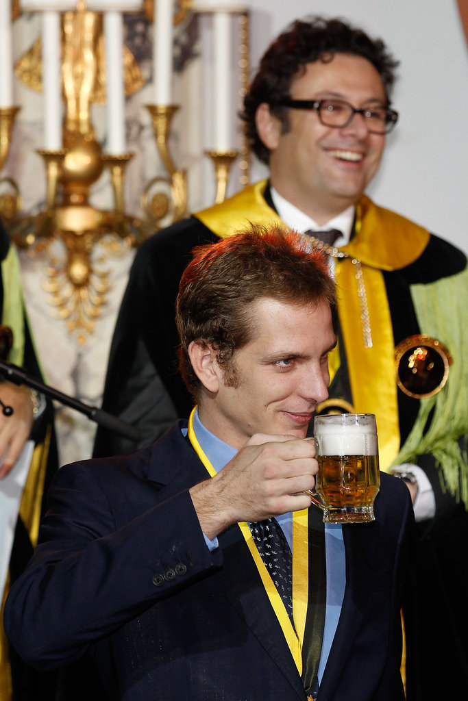 """Andrea celebrated after his enthronement as a member of the """"Chope d'or"""" in 2011."""