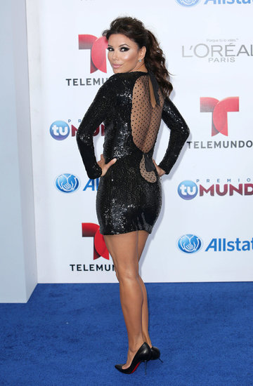Eva Longoria's sparkly mini was even sexier from the back, where double keyholes showed a flash of skin.